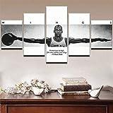 Cuadro Lienzo Pintura 5 Piezas Pared Pintura Impresión Arte para Hogar Salón Oficina Mordern Decoración Regalo Wall Art Poster Mural Michael Jordan Wings Chicago Bulls Baloncesto Americano All-Star