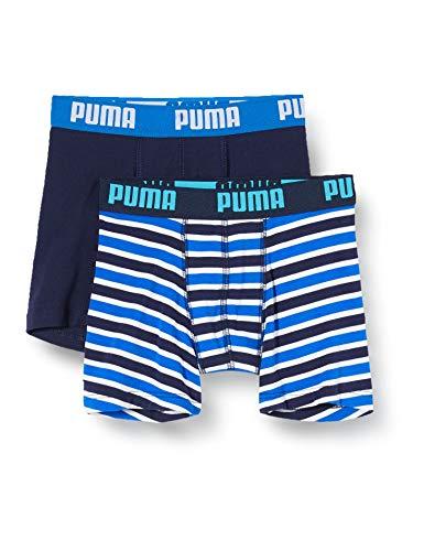 PUMA Jungen Boys Basic Boxer Printed Stripe 2P Boxershorts, Mehrfarbig (Blue 056), (Herstellergröße: 128) (2er Pack)