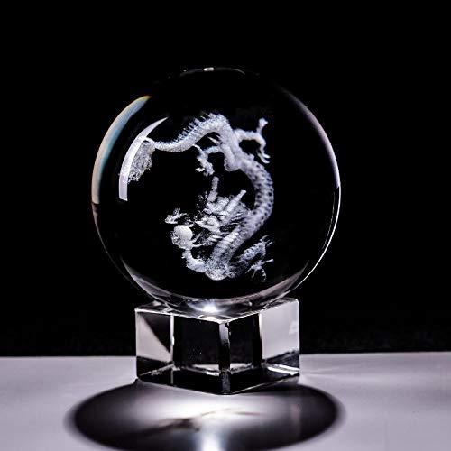 ACEACE Crystal Dragon Ball 3D Grabado especímenes Creativo Feng Shui Glass Ball Globe Boda artesanía doméstico decoración Adornos Regalo Regalo (Color : with Crystal Base, Size : 6cm)