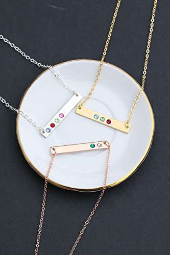 Birthstone Bar Necklace - Choose Crystal Colors, Chain Length, Silver Rose Gold Options