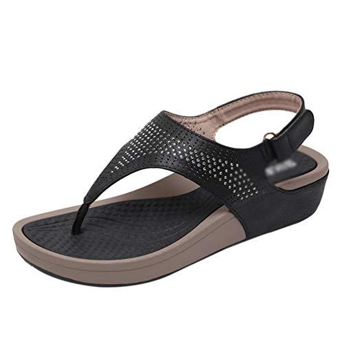 Yijinstyle Casual Sandaletten Klettverschluss Sandalen Peep-Toe Flip Flops Strass T-Strap Hausschuhe für Frauen (Schwarz, 38.5 EU)