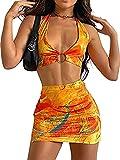 Vestidos de Mujer Bodycon Y2K Vestido Midi sin Mangas con Cuello Halter Vestido sin Mangas de Playa sin Espalda E Girl Party (Yellow Suit Set, Small)