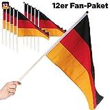 12er Sparpack Deutschland Fahne Flagge mit Stab 21 x 14 cm - für Fußball Fans, für WM 2018 Party & Co.