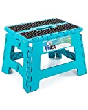 ACSTEP Folding Step Stool 9 inch Height Non-Slip Step Stool for Kid and Adult,Premium Heavy Duty Foldable Stool Kitchen Garden Bathroom Stepping Stool (Blue,1 Pack)
