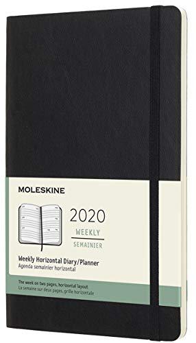 Moleskine Wochenkalender, Taschenkalender, 12 Monate, 2020, Large, A5, Horizontal, Soft Cover, Schwarz