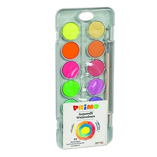 Primo 115A12FM Tuschkasten mit Wasserfarben, Deckfarben-8 Metallfarben, 4 Neon-Farben, inkl Pinsel und Mischplatte, Bunt