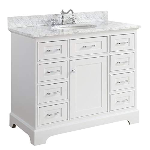 Aria 42-inch Bathroom Vanity (Carrara/White): Includes White Cabinet with Authentic Italian Carrara Marble Countertop and White Ceramic Sink
