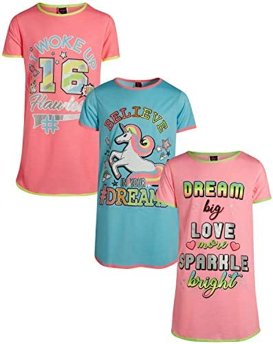 Angel Face Girls Short Sleeve Nightgowns Pajama 3 Pack Unicorn Dreams Size 8 product image