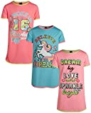 Angel Face Girls Short Sleeve Nightgowns Pajama - 3 Pack, Unicorn Dreams, Size 8'