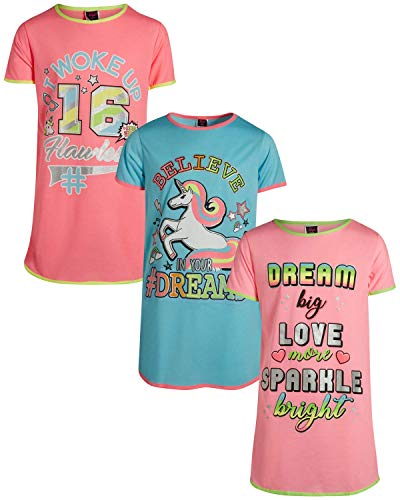 Angel Face Girls Short Sleeve Nightgowns Pajama - 3 Pack, Unicorn Dreams, Size 6'