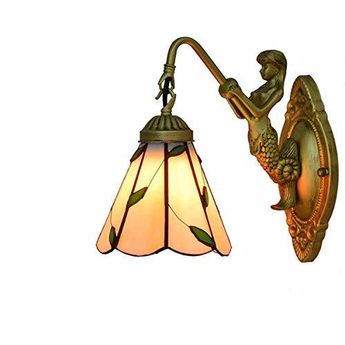 Lampe Tiffany Salon moderne lampe mur 6 pouces Applique britannique Applique murale de style Tiffany à la feuille verte lumière ornement Aisle nuit