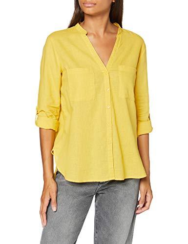 Springfield Gym.Camisa M/L Mao Lino-c/07 Blusa, Amarillo (Yellow/Gold 7), 38 (Tamaño del Fabricante: 38) para Mujer