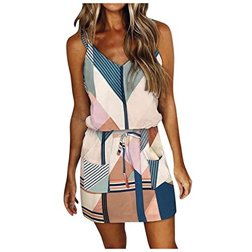 Mini Summer Dresses for Women Summer Dresses Casual Beach Sundress Sun Party Cute Spaghetti Strap Cami Dress Belt Pocket