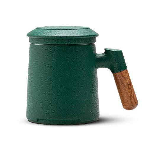 ZENS Teetasse mit Sieb und Deckel, 400ml Steinzeug Glasierte Keramik Teebecher aus mit Rosenholz der Henkel zum Einweichen von Losen Tee (Grün)