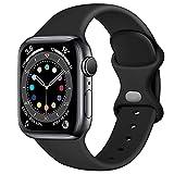 Epova Cinturino in Silicone Compatibile con Apple Watch 44mm 42mm, Cinturini di Ricambio per iWatch SE Series 6 5 4 3 2 1, Nero, Grande