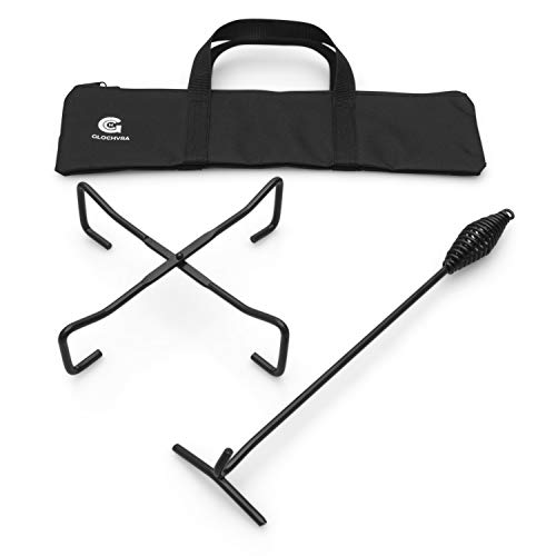 GLOCHYRA Camp Dutch oven Lid lifter 16.5' and Stand 10.6' - 2 piece set -Dutch oven camp cooking accessories, cooking trivet and Cast iron Lid lifter-comes with a storage bag