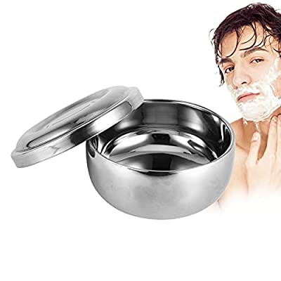 Shaving Bowl With Lid, Men Wet Shaving Soap Mug Bowl Silver Metal Face Cleaning Health Care Shave Tool from Filfeel