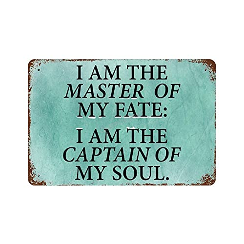 Pealrich Tin Signs Man Cave Metal Room Sign Aluminum Sign I Am The Master of My Fate Vintage Poster Plaques Modern Wall Art Decoration Gifts - 18x25