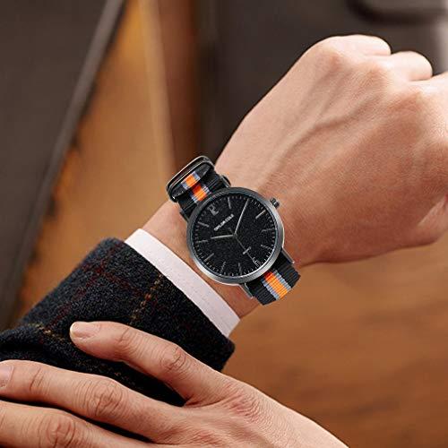 1418-1 Cinturón de Nailon Reloj de Cuarzo Moda Reloj de Cuarzo Encantador Reloj de Pulsera Ocio Decoración de Mano Reloj de Cuarzo Exquisito (orange1418-1)