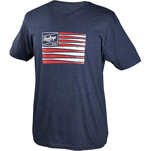 Rawlings Patch and Bat Flag Branded T-Shirt, Navy Blue, Large