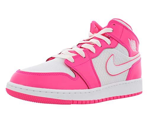 Jordan 555112-611: Air 1 Mid Girls Hyper Pink/White/White Basketball Shoe (5.5 M US Big Kid)