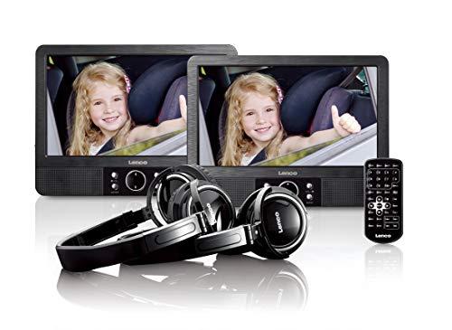 Lenco 9-Zoll Tragbarer DVD-Player MES-415 mit Doppel-Bildschirm - USB und SD Anschluss - 12 Volt Kfz Adapter - Fernbedienung - 2 x Kopfstützenbefestigung - 2 x Kopfhörer - Schwarz