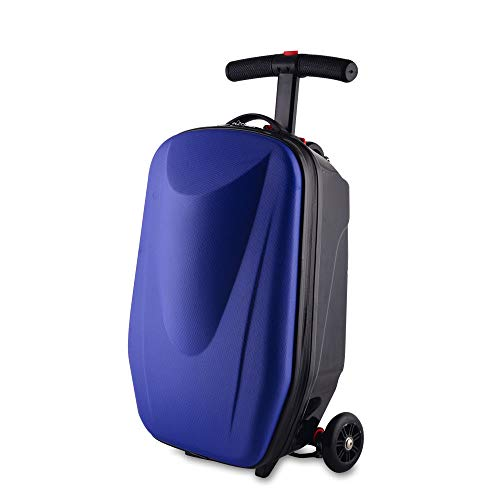 Scooter Suitcase,20inch Foldable Multifunctional Luggage Scooter Ride-on Travel Trolley Luggage for Travel, School, Business, Airport 20-35L (Royal blue)