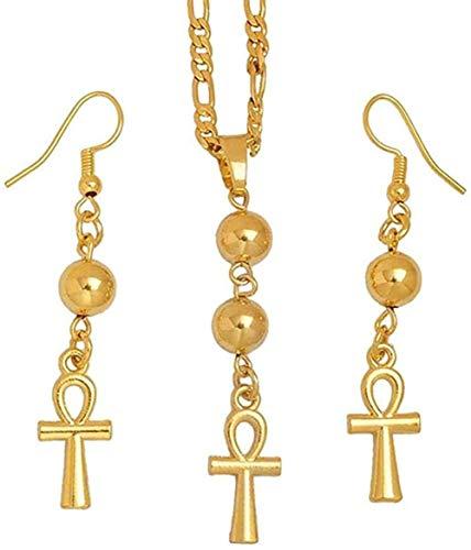 WSBDZYR Co.,ltd Collar de Moda Collar de Cruz egipcia Pendientes para Mujer Color Dorado Egipto Jeroglíficos Joyas Regalos Collar Longitud 60 cm X 3 mm Cadena