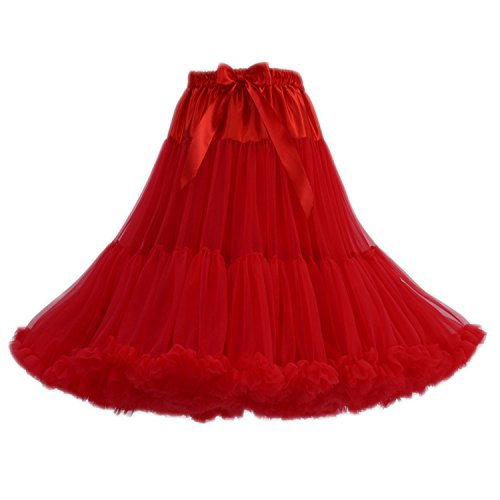 FOLOBE Frauen Tutu Kostüm Ballett Tanz Multi-Layer Puffy Rock Erwachsene luxuriöse weiche Petticoat, L, Rot-1