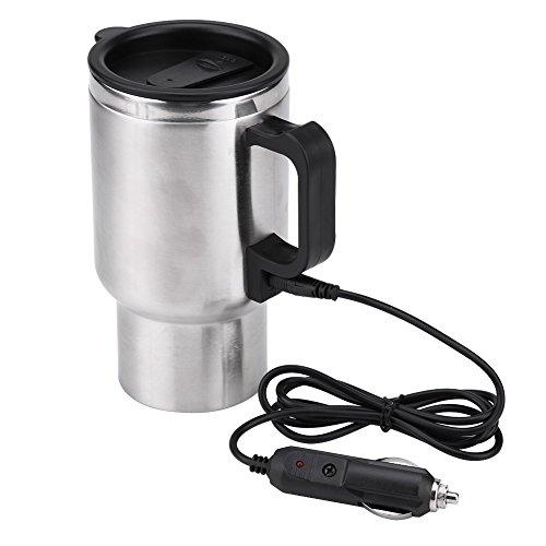 Esenlong Taza Eléctrica de La Taza Del Coche Del Té Del Café de La Taza de La Calefacción Del Viaje Del Acero Inoxidable Del Coche de 12V 450Ml 1Pc