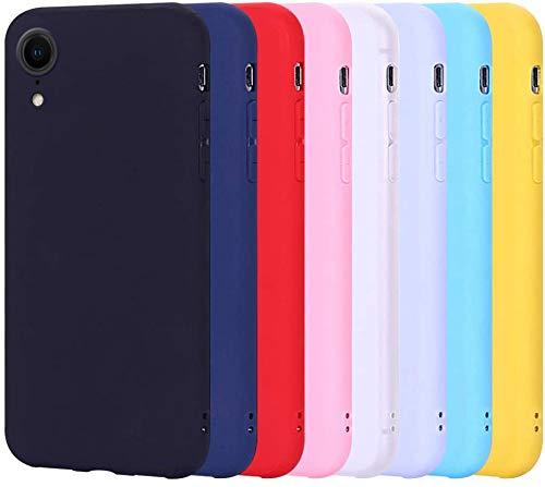 8 X Coque pour iphone XR, Silicone Souple Etui Housse pour Apple iphone XR RosyHeart Couleur Unie Slim Mince Flexible Etui Soft TPU Anti Choc Housse de Protection Gel Cover,(pack8)