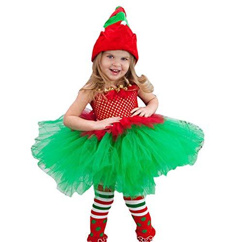 WOZOW Mädchen Kleinkind Spaghetti Trägerkleid Mesh Tüllrock Plaid Kariert Bowknot Süß Prinzessin Festliche Minirock Weihnachten Fasching Tanzkleid