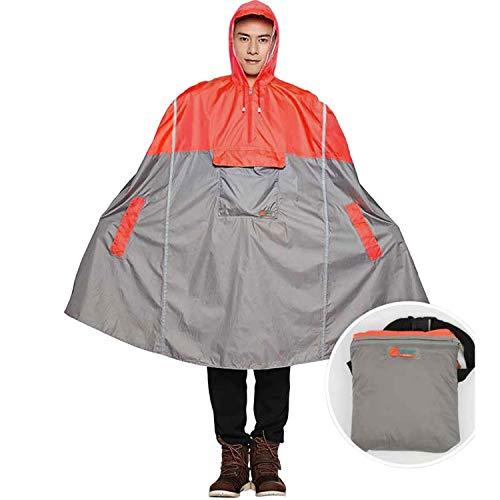 Mannen/Vrouwen Waterproof Fietsen Rain Poncho Lichtgewicht Outdoor Hiking Rain Cape regenjas met Hood,Orange