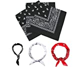 E-Senior Pañuelos Bandana, Pañuelos Rojo para Sanfermin, Unisex Bandanas de Paisley para Cuello/Cabeza/para las mujeres y los hombres (3Pack/Negro)