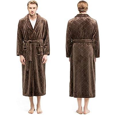 Bencier Men's Plush Soft Shawl Collar Fleece Bathrobe - Hotel Thick Spa Bathrobe