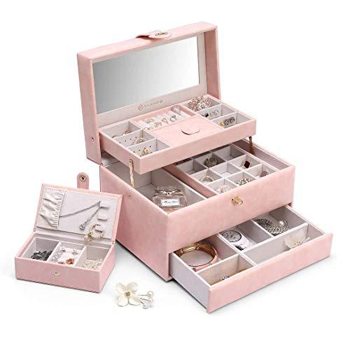 Sieraden Organizer Met Lock, PU Leer 3-Layer Storage Case Met Small Travel Jewelry Box One-Button Opening Voor Kettingen Oorbellen Ringen