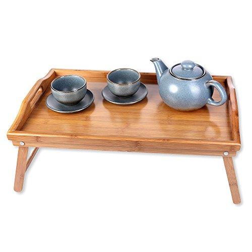 Schramm® Frühstückstablett Bambus Tablett Bambustablett klappbar Serviertablett für Frühstück im Bett Betttablett mit Füßen zum Aufstellen