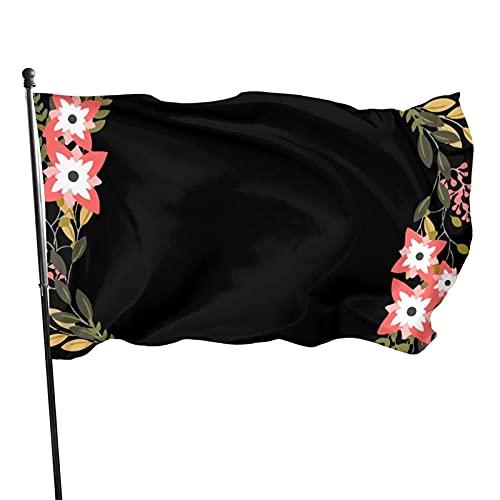 GOSMAO Bandera de jardín Guirnalda de Flores Color Vivo y Resistente a la decoloración UV Bandera de Patio Cosida Doble Bandera de Temporada Banderas de Pared 150X90cm