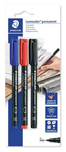 Staedtler Lumocolor Permanent 317BK3D-Blister con 3 Rotuladores permanentes punta M de 1 mm aprox. colores negro, azul y rojo