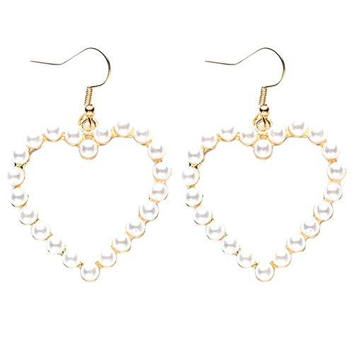 Camisin Pendientes de Perlas en Forma de CorazóN de Mujer Pendientes de Perlas de ImitacióN Vintage Ropa Diaria Joyas de Moda