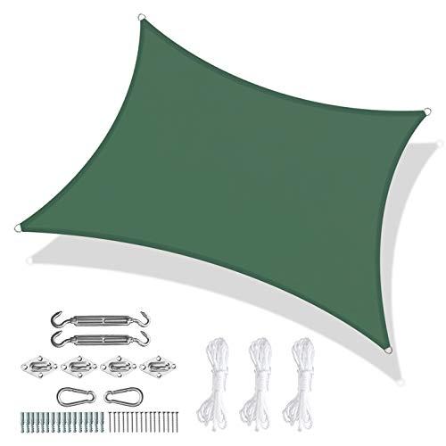 DFBDFB Toldo rectangular impermeable para jardín, terraza, fiesta, toldo de protección UV 98% con cuerda libre, accesorios fijos de acero inoxidable (color: verde, tamaño: 2 x 3 m)