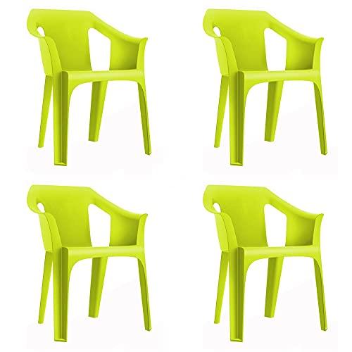 RESOL Cool Set 4 Sillas de Jardín con Reposabrazos Apilable | Terraza, Patio, Exterior, Comedor, Reuniones | Diseño Moderno...