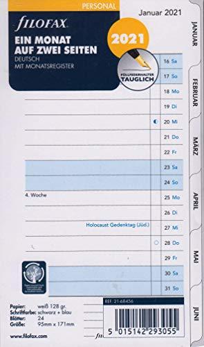 Filofax 2021 Kalender Personal A6 Einlage 1Monat 2Seiten Kalendarium Deutsch Monatsplaner 21-68456, Weiss