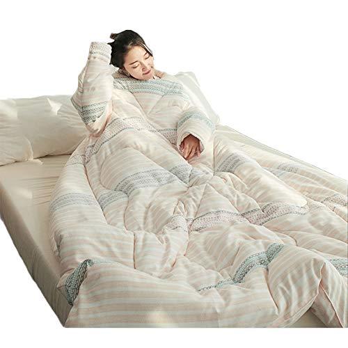 Blankets Couverture à Manches Couette paresseuse Lavable et Amovible en Hiver, épaisse et Chaude, avec Accessoires pour la Maison avec Fermeture à glissière,D