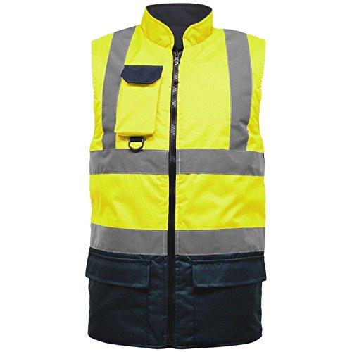 Hi Viz Vis - Chaleco Acolchado (Forro Polar, Reversible, Alta Visibilidad, Reflectante, Impermeable, para el Trabajo, Seguridad, Uso Seguro, Chaleco cálido, Talla S-5XL)