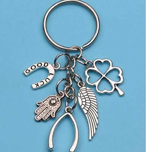 Buona fortuna con i ferri di cavallo, le ali, la catena chiave della fortuna di Cloverleaf