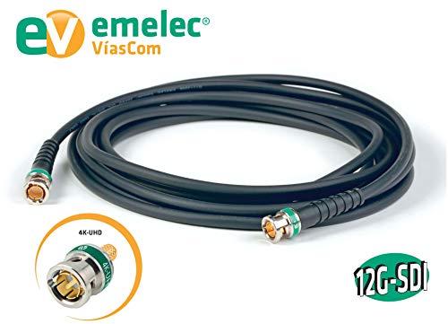 Emelec VíasCom EQ 153500 - Conexión vídeo 4K 12G-SDI 50 m con BNC 0.8/3.75 (conductor unifilar) color negro