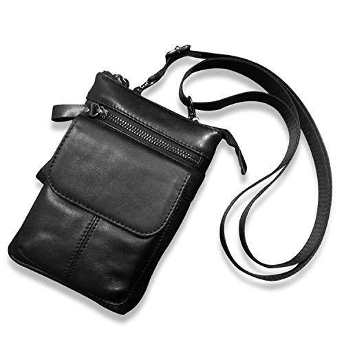 FANDARE Small Crossbody Bag Leather Mobile Phone Waist Pocket Shoulder Bag Business Messenger Bag for Men Waterproof Satchel Bag Black a