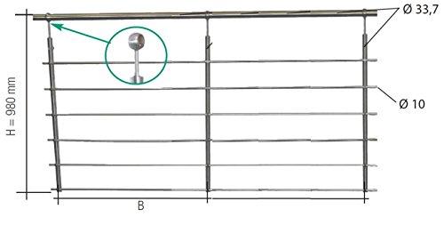 Günstige Restposten! VORTEC, Geländer-Set 41/425 in Edelstahl Franz. Balkon mit 3 Pfosten in Edelstahl