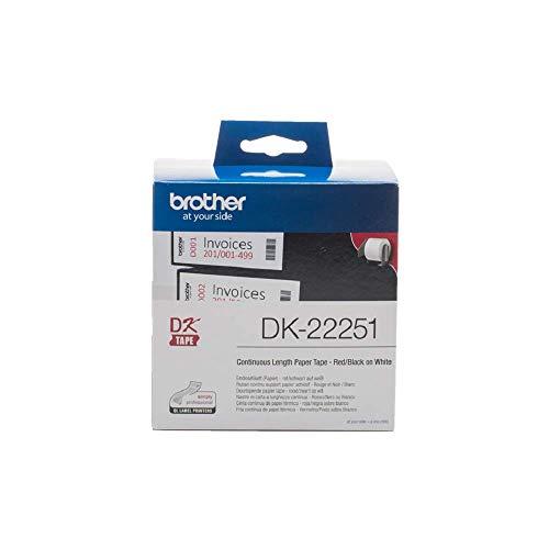 Brother DK-22251 selbstklebende Endlosetiketten (62 mm x 15,24 m, geeignet für QL-800, QL-810W, QL-820NWB) rot/schwarz auf weiß (Papier)